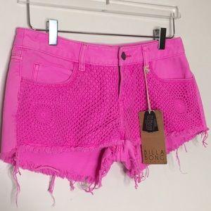 Billabong Hot Pink Crochet Shorts. NWT. Size 5